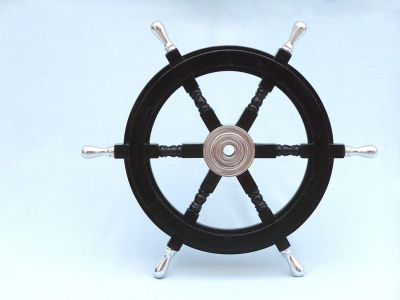 Wood and Chrome Black Pirate Ship Wheel 24 with Chrome Spokes