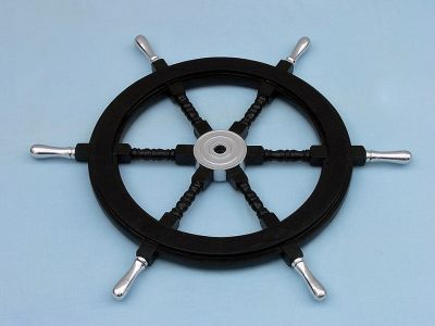 Wood and Chrome Black Pirate Ship Wheel 30 with Chrome Spokes