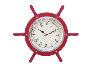 Wooden Red and Chrome Ship Wheel Clock 15\