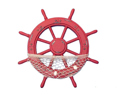 Wooden Rustic Red Ship Wheel with Net and Shells 18