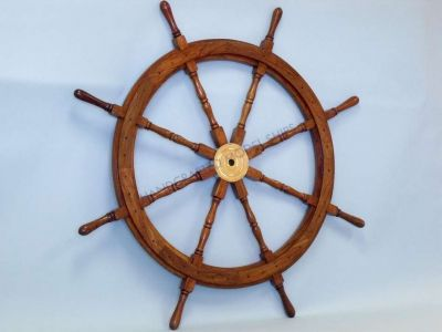 Wood and Brass Ship Wheel 30