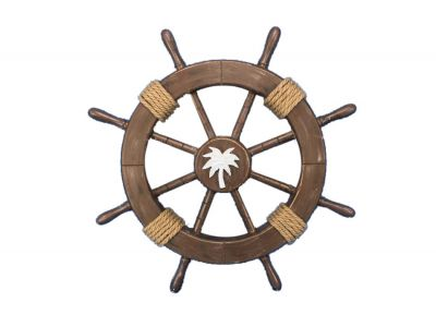 Rustic Wood Finish Ship Wheel with Palm Tree 18