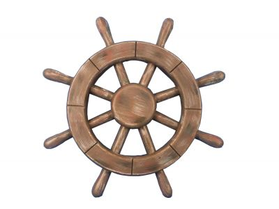 Rustic Wood Finish Ship Wheel 12