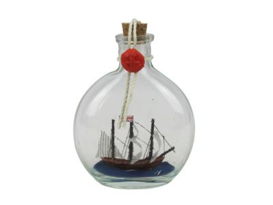 Mayflower Model Ship in a Glass Bottle 4""