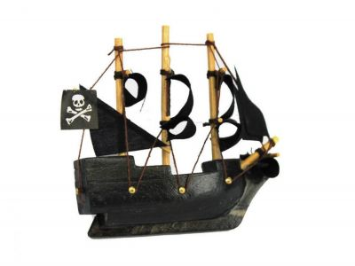 Wooden Caribbean Pirate Ship Model Magnet 4""