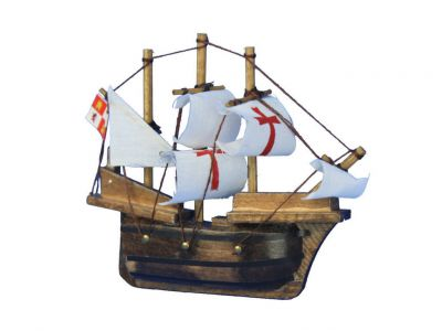 Wooden Santa Maria Tall Model Ship Magnet 4\