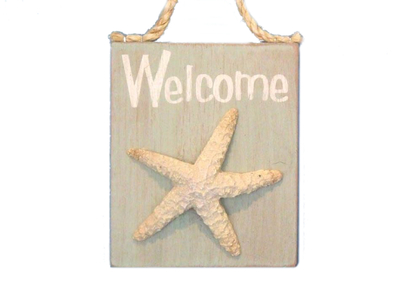Wooden Welcome Starfish Sign 6