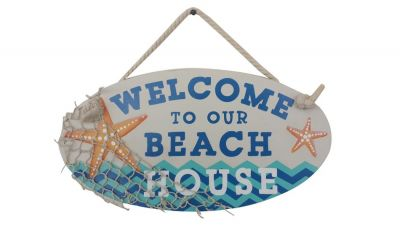 Wooden Welcome To Our Beach House Sign 15""