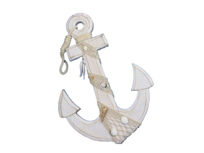Wooden Rustic Whitewashed Anchor w- Hook Rope and Shells 18
