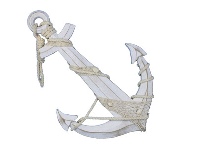 Wooden Rustic Whitewash Anchor w- Hook Rope and Shells 24