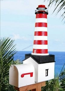 West Quoddy Solar Powered Stucco Lighthouse Mailbox 36
