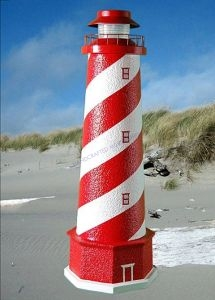 White Shoal Stucco Solar Landscape Lighthouse w-Base 28