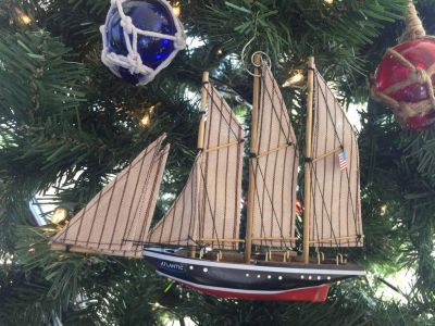 Wooden Atlantic Model Sailboat Decoration Christmas Ornament 7""