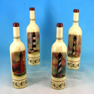 Set of 4 - Decorative Ceramic Lighthouse Bottle 12