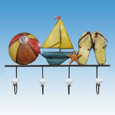 Metal Sandals Beach Ball And Sailboat Wall Plaque 20