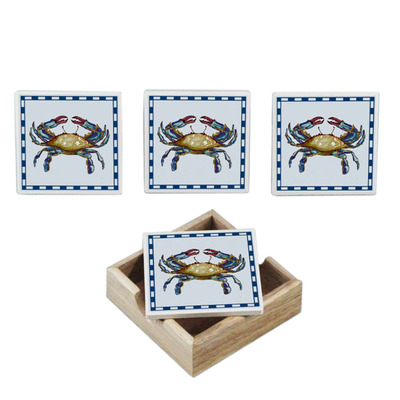 Set of 4 - Ceramic Crab Coasters w- Holder