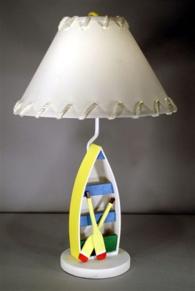 Yellow Sailboat Electric Lamp with Lace Shade 28
