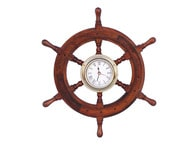 Deluxe Class Wood And Brass Ship Wheel Clock 12 picture