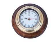 Brass and Wood Nautical Wall Clock 7