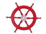 Deluxe Class Dark Red Wood and Chrome Ship Steering Wheel 24
