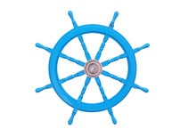 Deluxe Class Light Blue Wood and Chrome Decorative Ship Steering Wheel 36