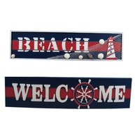 Wooden Beach Welcome Nautical Wall Plaque 19 - Set of 2