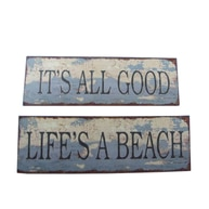 Wooden Weathered Nautical Signs 20 - Set of 2