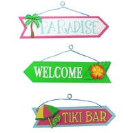Wooden Paradise Welcome Tiki Arrow Signs 16 - Set of 3