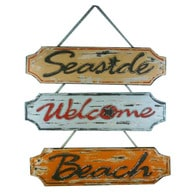 Wooden Weathered Seaside Welcome Beach Plaque  23 - Set of 3