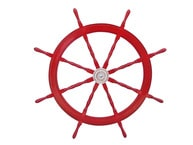 Deluxe Class Dark Red Wood and Chrome Ship Steering Wheel 48