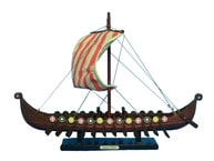 "Wooden Viking Drakkar Model Boat 14"" picture"