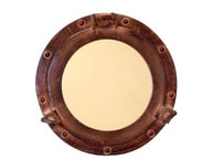Antiqued Aluminum Porthole Mirror 9