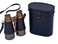 Admirals Antique Brass Binoculars and Leather Case 6