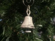 Rustic Whitewashed Cast Iron Bell Christmas Ornament 4