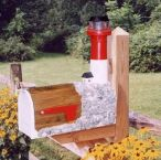Barnegat  Solar Powered Wooden Lighthouse Mailbox 36