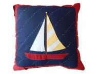 Quilted Sailboat Decorative Throw Pillow 14