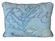 Embroidered Relax Ocean Wave Decorative Throw Pillow 16