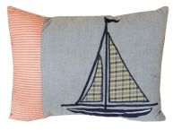 Quilted Sailboat Adrift Decorative Throw Pillow 16