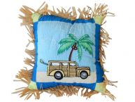 Quilted Beach Scene Decorative Throw Pillow 14