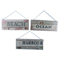 Wooden Ocean Beach And Harbour Sign 16 - Set of 3