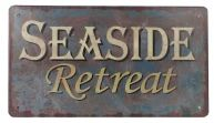 Rustic Tin Seaside Retreat Beach Sign 10
