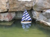 It Floats 12 - Rustic Blue Striped Floating Sailboat