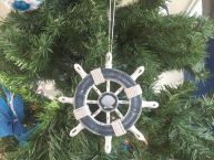 Rustic Dark Blue and White Decorative Ship Wheel With Seashell Christmas Tree Ornament  6