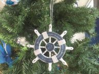 Rustic Dark Blue and White Decorative Ship Wheel Christmas Tree Ornament 6