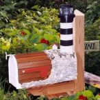 Bodie Island Solar Powered Wooden Lighthouse Mailbox 36