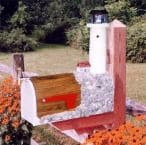 Boston Harbor Solar Powered Wooden Lighthouse Mailbox 36