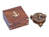 Captains Antique Brass Triangle Sundial Compass with Rosewood Box 3