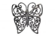 """Rustic Silver Cast Iron Butterfly Trivet 8"""" picture"""