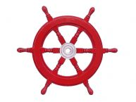 Deluxe Class Dark Red Wood and Chrome Ship Steering Wheel 18