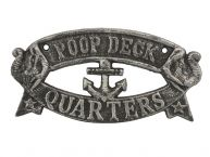 Antique Silver Cast Iron Poop Deck Quarters Sign 9
